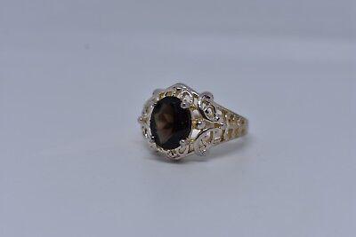 Vintage Genuine Smoky Topaz Deco 925 Sterling Silver Ring 5