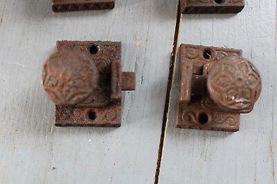 4 Antique Victorian Cast Iron  Cabinet Cupboard Door Latch Lock Hardware