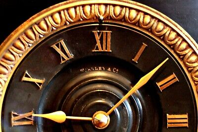 Antique French GS Medaille D'Or 1867 8-Day Striking Marble, Bronze Mantel Clock 8
