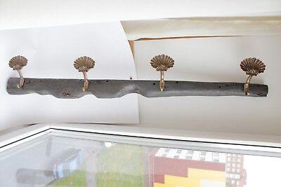 antique maritime bog oak wooden sail rack with brass shell hooks 2