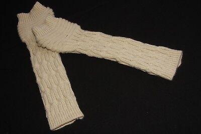Ladies Beige Warm Long Winter Fingerless Gloves with Striped Design (S334) 4