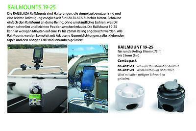 Railblaza 19-25 Railmount Halterung Stange (weiß) Montage: schrauben03-4011-21