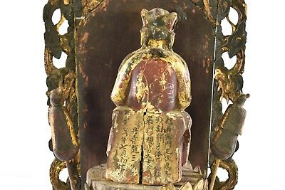 Antique Chinese Red Gilt Wood Carved Statue Figure Guan Yin / Kwan Yin, 19th c 3