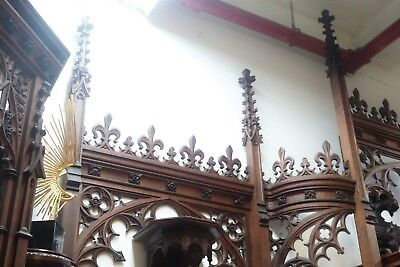 19C English Gothic Spire Curved/Carved Tiger Oak Church Organ Surround 9