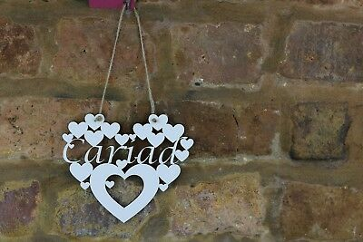 Cariad /'Love/' in Welsh wall hanging White heart decoration sign gift Wales