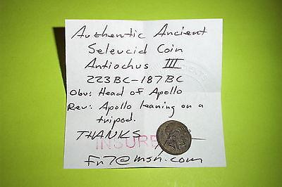 RARE Ancient SELEUCID COIN apollo ANTIOCHUS III 223 BC tripod tool Greek VG old 3