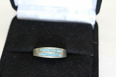 Antique Sterling Silver Signed MEX turquoise chip inlay Ring size 6 2