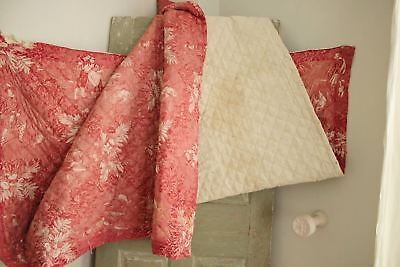Antique French toile de Normandy c 1820 red quilted textile linen backed 5
