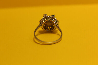 Damen Ring 585 Gold  14ct. 1 Perle 6 Saphir, 18mm #8154 3