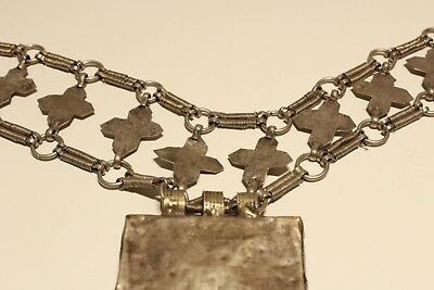 Rare Post Medieval Unique Hand Made Low Sample Silver Necklace With Crosses 12