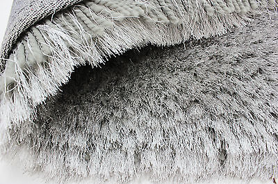 Small - Large Soft Chunky Thick Long 8Cm Shaggy Light Silver Grey Pearl Rug 3