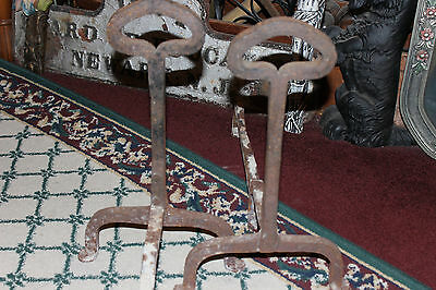 Antique Cast Iron Andirons W/Celtic Shape-Pair-Fireplace Inserts-Architectural 10