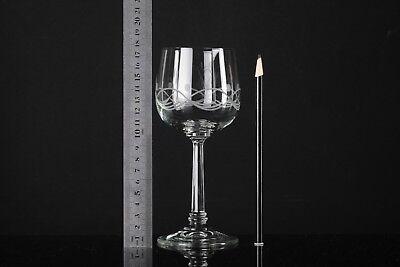 4 Weingläser Wellen Oval Schliff Gravur Vintage Gläser