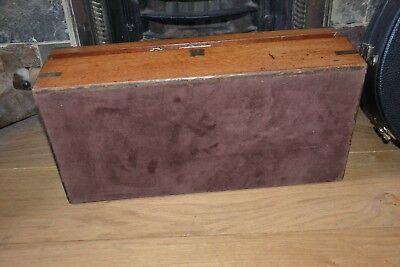 Vintage wooden writing slope brass inlayed working lock key 12
