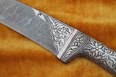 Indo-Persian Islamic Mughal Calligraphy Silver Inlay Damascened Kard Dagger 5