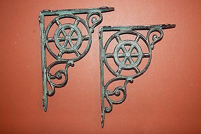 (2)Pcs,maritime Decor, Shelf Brackets, Ships Wheel,helm, Bronze-Look,corbel B-31 3