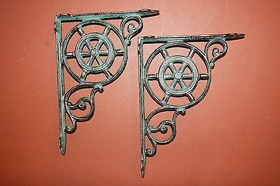(8)Pcs, Sailing Wall Decor, Shelf Brackets, Ships Wheel, Helm, Bronze-Look, B-31 2
