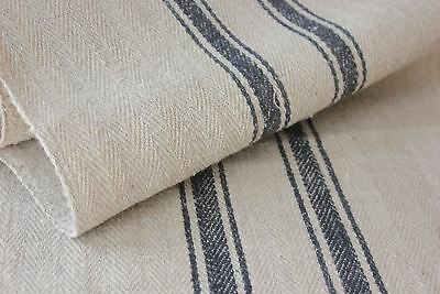 ONE YD length BLUE BLACK HEMP  stripe Antique Vintage STAIR RUNNER HEMP fabric