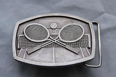 Vintage Indiana Metal Craft Tennis Rackets Belt Buckle 1977 3