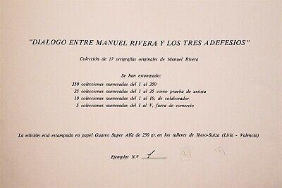 """Serigrafía de Manuel Rivera, La sombra os masturba. """"Dialogo entre MR 10"""