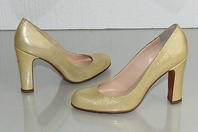 d0d834441c4c ... NEW Christian Louboutin SIMPLE PUMP 100 Patent Beige Nude Glitter Shoes  37.5 3