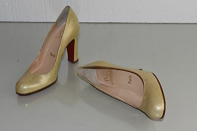 588493c36806 ... NEW Christian Louboutin SIMPLE PUMP 100 Patent Beige Nude Glitter Shoes  37.5 9