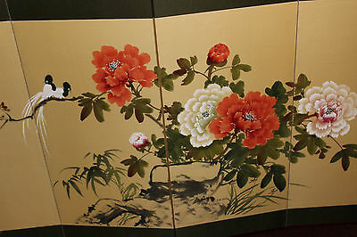 ce03503360fc2 ... Vintage Chinese Japanese 4 Panel Hand Painted Room Divider-Birds  Flowers-Signe 4