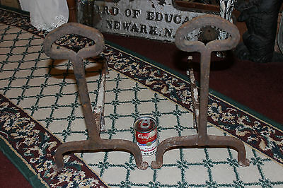 Antique Cast Iron Andirons W/Celtic Shape-Pair-Fireplace Inserts-Architectural 6