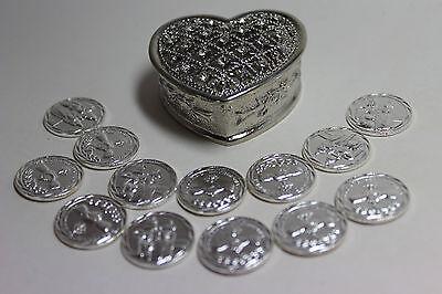 new arras church wedding 13 coins GOLD tone box 50 anniversary matrimonial