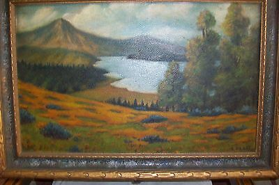 Antique ORIGINAL OIL ART PAINTING~E.Platt~RARE Mission Deco Frame Cadillac Maine 9