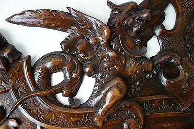 19C Venetian Gothic Fantasy Carved Oak Winged Dragon/Griffin/Gargoyle Pediment 5