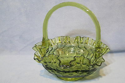 Vintage Fenton Art Glass Crimped Basket Colonal Green Thumbprint Glass North American