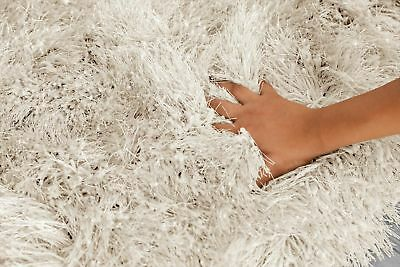 Ivory Cream Large SHAGGY Floor RUG Soft SPARKLE Shimmer Extra Thick 9cm Pile 4