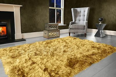 Ochre Yellow Large SHAGGY Floor RUG Soft SPARKLE Shimmer Extra Thick 9cm Pile 2
