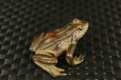 Chinese japanese bronze hand cast frog statue figure collectable ornament gift 4