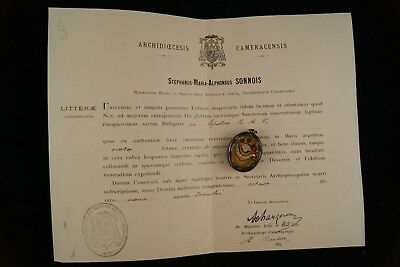 † 1908 COA BVM Blessed Virgin Mary STERLING RELIQUARY 1 RELIC WAXSEAL FRANCE †