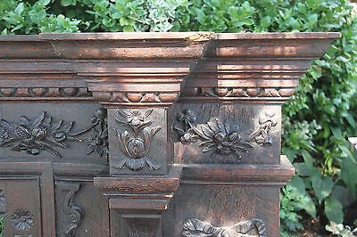 19C English Carved Oak Figural Jester Griffin/Gargoyle/Dragon Fireplace Mantel 11