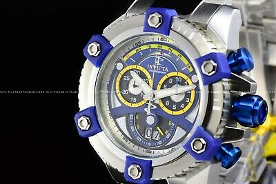 "Invicta 63mm Reserve Grand Octane Arsenal ""PINNACLE"" Swiss Silver Blue SS Watch 11"