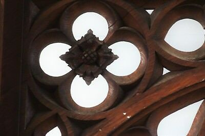 19C English Gothic Spire Curved/Carved Tiger Oak Church Organ Surround 10