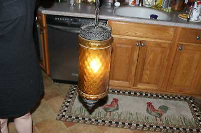 Vintage Cylinder Shape Hanging Lamp-Amber Color Glass-Gothic Style Lamp-LQQK 12 • CAD $188.99