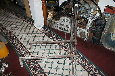 Antique Cast Iron Fireplace Andirons-Unusual Twisted DNA Strand-Large Andirons 5