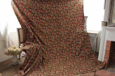 Antique French curtain c1880 heavy w/ fringe trim printed cotton LARGE drape 11