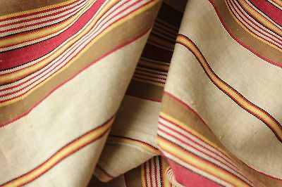 Antique French ticking linen cotton mix woven herringbone weave Vibrant c1880 11