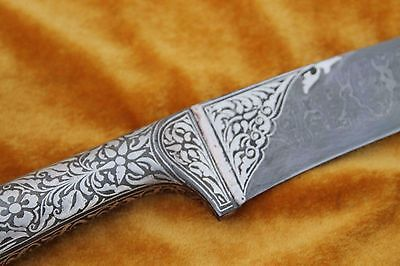 Indo-Persian Islamic Mughal Calligraphy Silver Inlay Damascened Kard Dagger 7