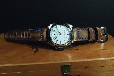 Correa Reloj Genuino Cuero Vintage Apta Panerai Etc Ma Strap Colorum Marron Azul 2
