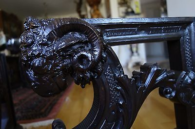 19C French Gothic Hand-Carved Oak Rams Head Corbels 2