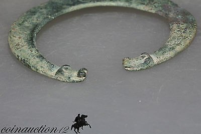 Scarce Massive Roman Or Viking Penannular Crescent Bronze Pendant With Dogs Head 3