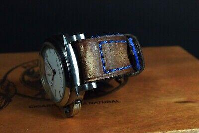 Correa Reloj Genuino Cuero Vintage Apta Panerai Etc Ma Strap Colorum Marron Azul 3