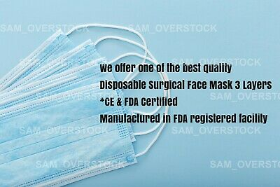 20 PCS Face Mask Medical Surgical Dental Disposable 3-Ply Earloop Mouth Cover 3
