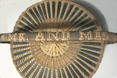 """VINTAGE 18"""" 1940's CHINESE BAMBOO & CANE HAND WEAVED BASKET w LID NAME on HANDLE 4"""